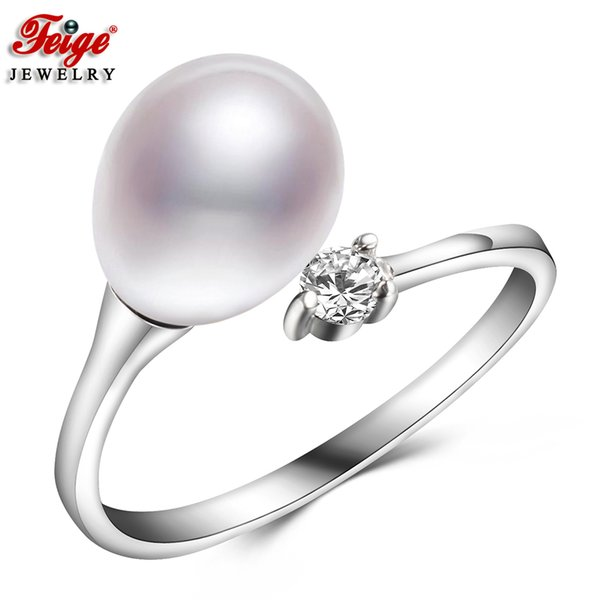 Classic Simple Natural Pearl Ring for Female Anniversary Jewelry Gifts 8-9MM Freshwater Pearl Rings Fine Jewelry Wholesale FEIGE Y1892704