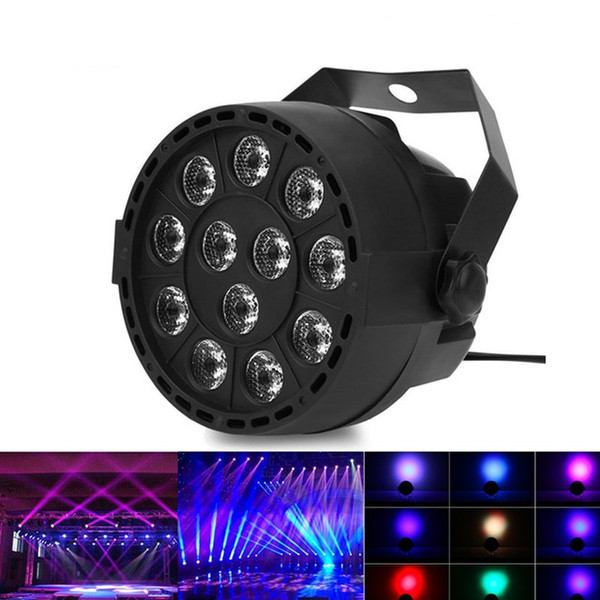 Portable Mini Stage Par Lamp 8CH 12 LEDs RGBW Color Mixing Led Stage Lighting Effect AC 90 - 240V 12W Intelligent Voice Control Light