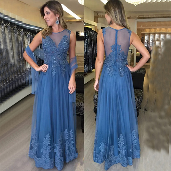 Blue Lace Mother of the Bride Dresses for Weddings Sleevelss Beaded A Line Floor Length Evening Gowns Groom Godmother Dinner Dresses