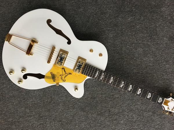 Chitarra elettrica di jazz del corpo del cavità dei semi bianca della chitarra di Falcon 6120 su ordinazione bianca con il tremolo Trasporto libero