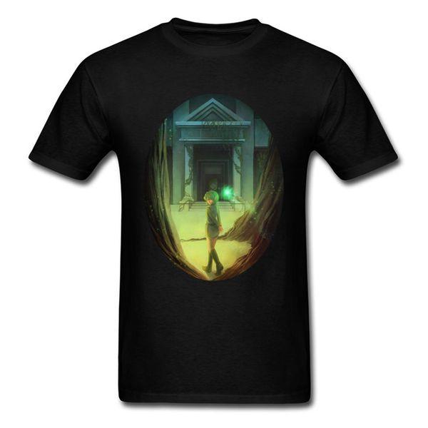 Forest Temple Saria 100% хлопок Мужские топы с коротким рукавом Футболки с принтом на день труда Новая рубашка с круглым вырезом