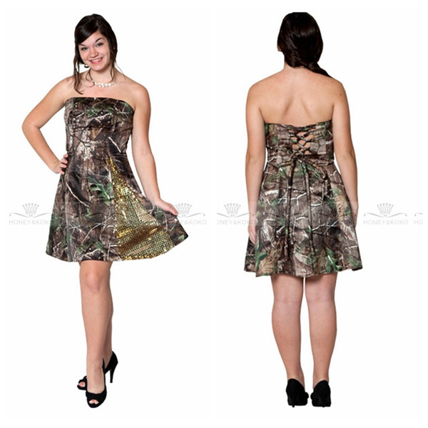 2018 Strapless Custom Camo Short Mini Bridesmaid Dress With Gold Sequins Satin Camouflage Custom Honor Of Maid Formal Wear Bridesmaids Gown