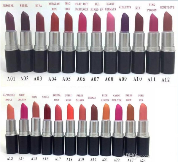 new Factory Outlet - Hot Professional wholesale and retail make up new 24 colors 3g matte lipstick Free Shipping