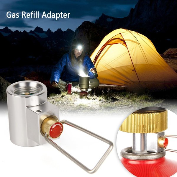 Flat Gas Tank Adapter Valve Butane Canister Gas Convertor Shifter Camping Cylinder Refill Adapter for Stove Gas Cylinder Burner Accessories