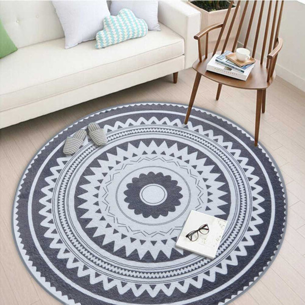 Retro Dark gray Pattern Round Rugs Anti-slip Wear Mat for Kitchen,Living Room,Bedroom,Kids Room,Creative Doormat
