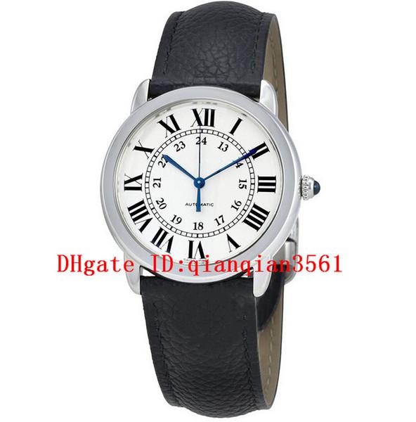 Tout nouveau cadran blanc automatique WSRN0021 boîtier en acier inoxydable 36 mm bande de cuir noir montre pour dames