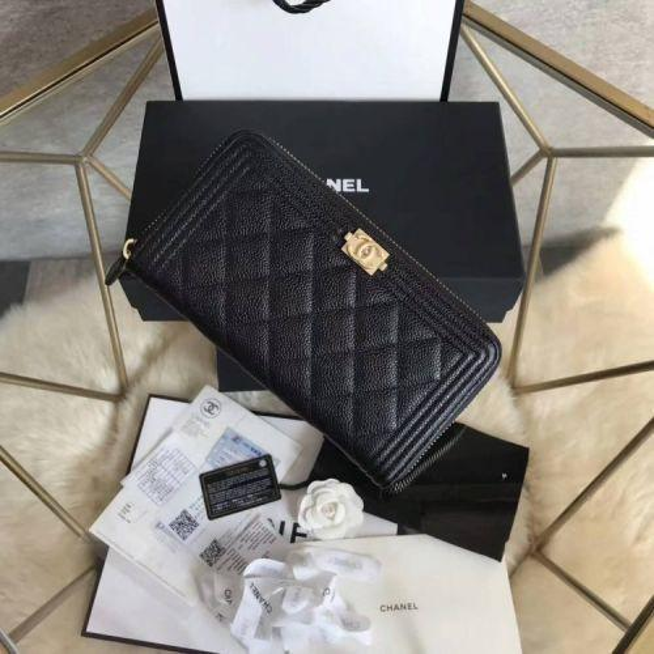 Zipper wallet wallet black gold buckle LONG CHAIN WALLETS KEY CARD HOLDERS PURSE CLUTCHES EVENING
