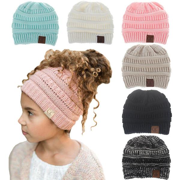 70f4139db 2018 Nueva Moda Cálido Sombrero de Invierno para Niños Skullies Gorros  Chicas Sombrero de punto Gorro