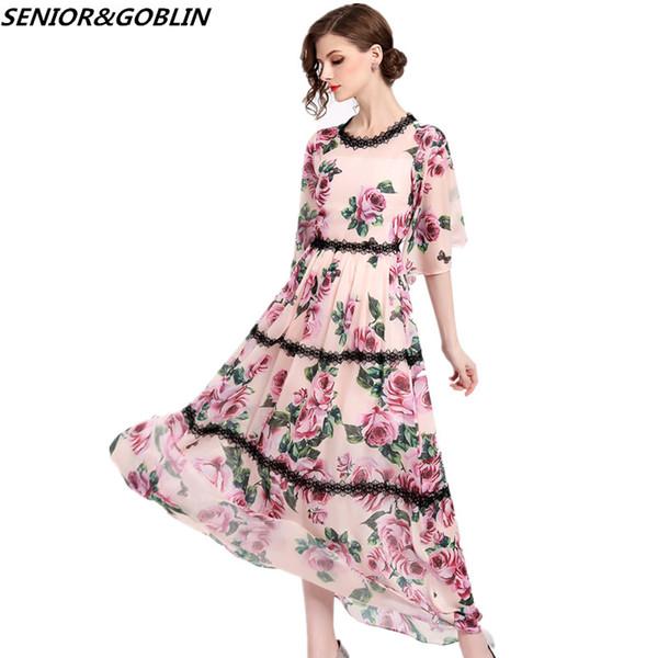 2018 nouvelle arrivée piste concepteurs robe d'été femmes mode imprimé floral plus la taille en mousseline de soie robe occasionnels noir dentelle maxi robe