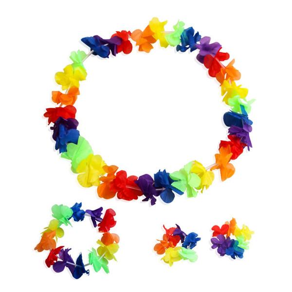 Гавайский хула гирлянда Leis ожерелья браслеты оголовье 4 шт. набор трепал имитация Шелковый цветок для партии пользу,