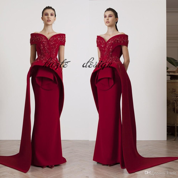 946502bbe4cd Azzi&Osta Fashion burgundy Evening Gowns Beading Appliques Off Shoulder  Mermaid Prom Dresses Le Vert Galant Glamorous Satin Evening Dresses