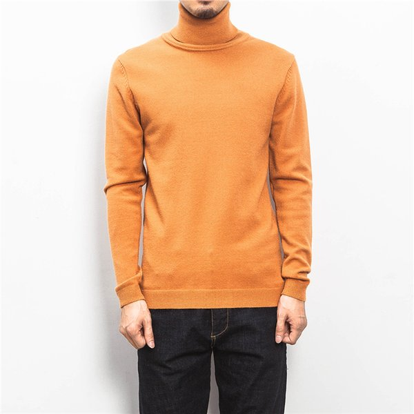 High Grade Men Turtleneck Sweater Long Sleeve Pullover 2018 Winter Warm Cotton Jersey Casual Solid Knitted Plus 5XL Men Clothes