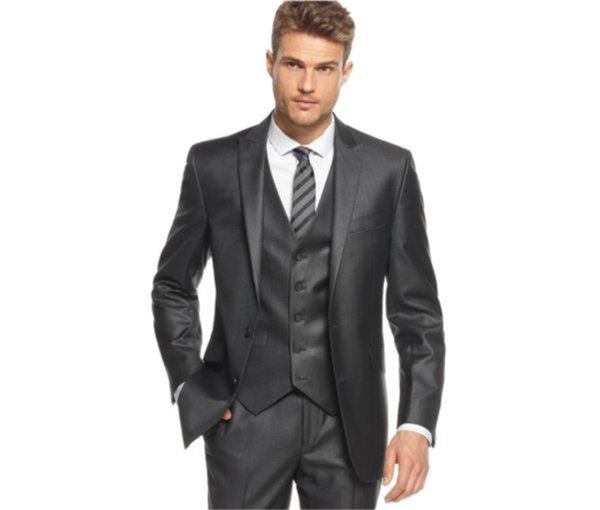 2018 New Custom made Charcoal Grey Groom Tuxedos Peaked Lapel Groomsmen Men Wedding Suit ( jacket+Pants+vest+tie)