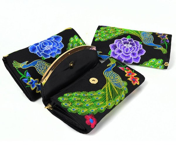 Fashion Women's Clutch Wallet Card Holder Case Purse Handbag Long Wallet Embroidered chain crossbody wallet embroidery bag