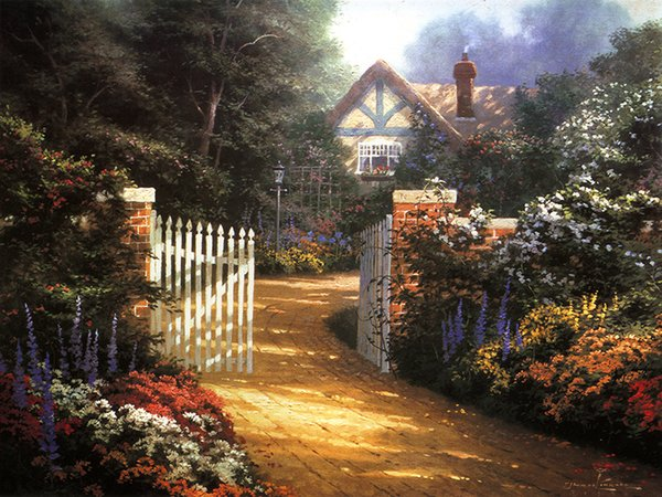 Unframed or Framed Thomas Kinkade Landscape Oil Painting Reproduction High Quality Picture Printed On Canvas Modern Home Art Decor HT344