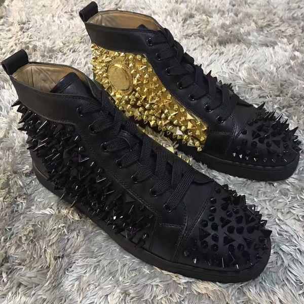 buy online ba7d1 f3b78 Black-golden Sneakers Shoes For Women,Men Red Bottom Pik Pik Spikes Casual  Walking Original High Top Leisure High Quality With Box,EU35-46