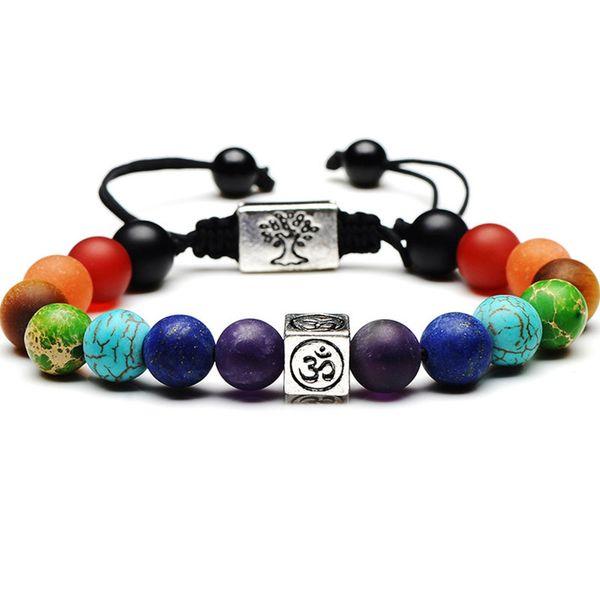 Weihnachtsgeschenk 7 Chakra Baum des Lebens Charm Armbänder Multicolor Perlen Steine Weben Seil Armband Frauen Männer Yoga Armbänder