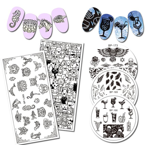 BORN PRETTY Round Rectangle Stamping Plate Cartoon Geometric Animal Skeletons Eagle Totem Manicure Nail Art Image Plate DIY