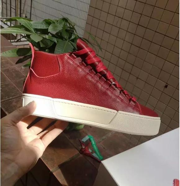 Zapatillas de deporte Arena para hombre Súper calidad de piel de oveja cuero genuino de la marca superior arena zapatos moda kanye west zapatillas altas 198601