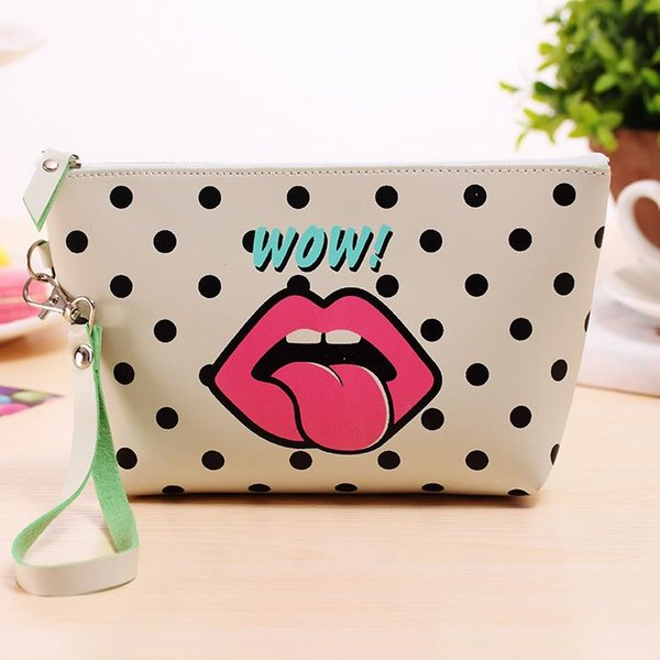 Wholesale- New Modern Grils Cosmetic Bag Lips Waterproof Storage Travel Organizer Bag Women PU Leather MakeUp Bag Handbags Case