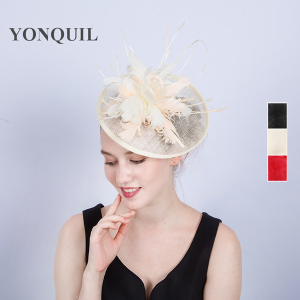 Charming sinamay ladies hair fascinator hats with feather for women races wedding on headband holiday occasion headwear SYF188