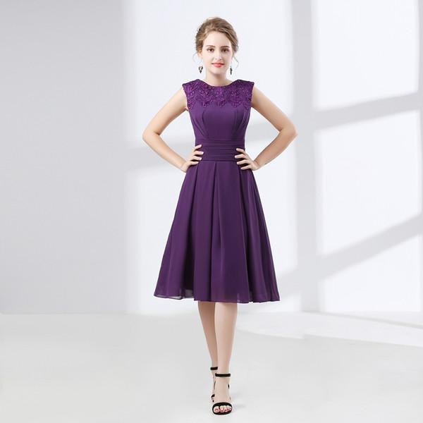 Compre 2018 Vestido De Noche Diseño Morado Corto Vestido De Banquete Vestido De Una Sola Pieza Joya Tallas Grandes Vestidos De Noche Cortos Para