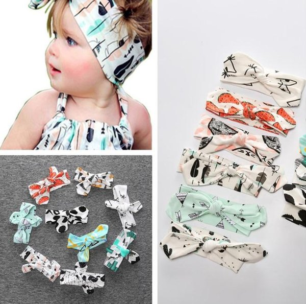 4 unids Fashion Baby Bandana diadema niña niños conejo oreja gato Arcos turbante Head Wrap diadema headwraps