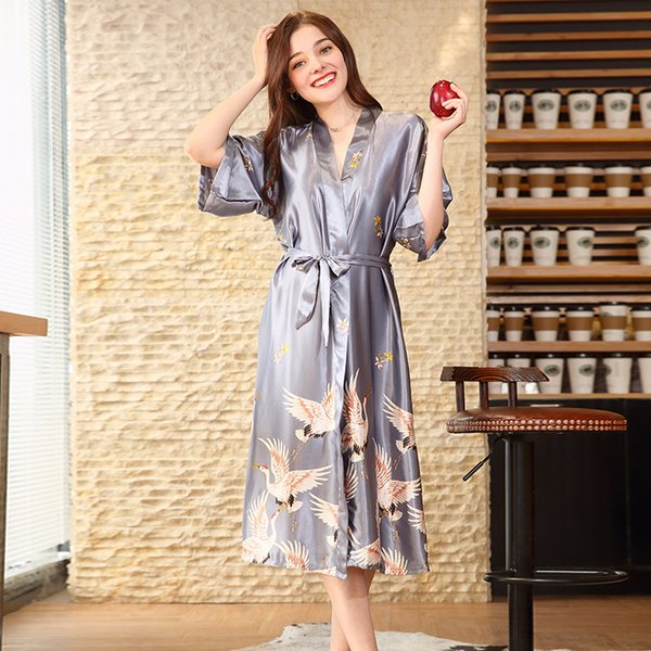 New Grey Satin Chinese Style Women Robe Charming Female Sleepwear Summer Long Nightgown Vintage Home Wear Elegant Kimono