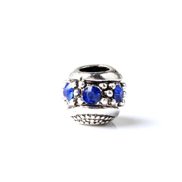 Hot-Selling Retro Space Charm Bead With Dark Blue Crystal Rhinestone Big Hole Fashion Women Jewelry European Style For Pandora Bracelet