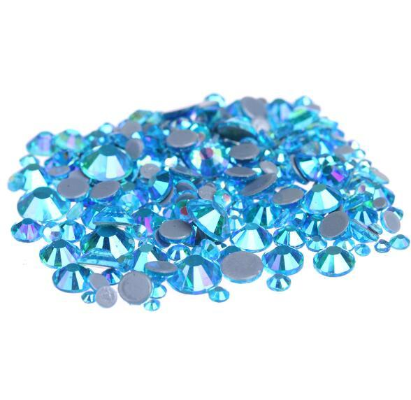 Hot Sale A++ Grade Quality Aquamarine AB Glass Crystals Strass Stones Hotfix Rhinestones For clothing Garment Accessorie