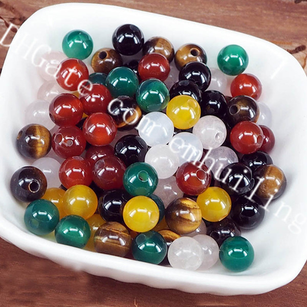 50Pcs Assorted Natural Quartz Crystal Beads 8mm Gemstone 2mm Hole Tiger Eye Rose Quartz White/Red/Green/Yellow/Black Agate Beads DIY Jewelry