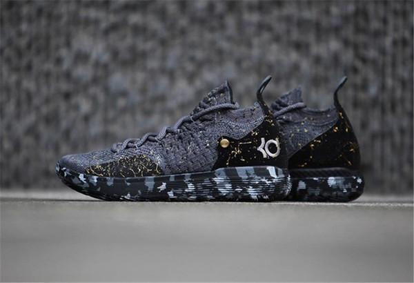 2018 Nike KD 11 CHAMPIONSHIP  Basketbol Ayakkabı Siyah Gri KD 11Persian Altın Sıçramak Sneakers Kevin Durant 11 s Tasarımcı Ayakkabı Mens Eğitmenler Ayakkabı Kutusu Olmadan