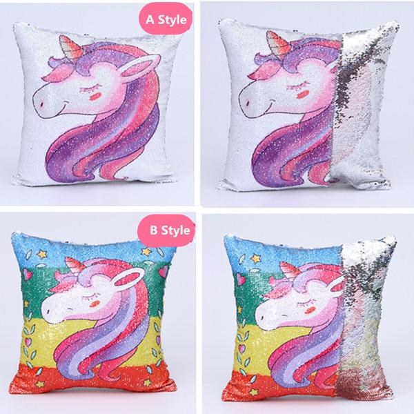 Blingbling Sequins Unicorn Minder Kapak 40x40 cm Değişen Geri Dönüşümlü Mermaid Yastık Kapak Dekoratif Yastık Kapakları 16 '' * 16 '' Kanepe 2 için Kırmızı