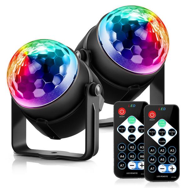 ACCEWIT 2 Pçs / set Luz Do Feriado 3 Modos de Controle RGB LED Efeito de Festa Bola de Discoteca Iluminação de Palco Luz de Casamento Profissional Lâmpada de Casamento