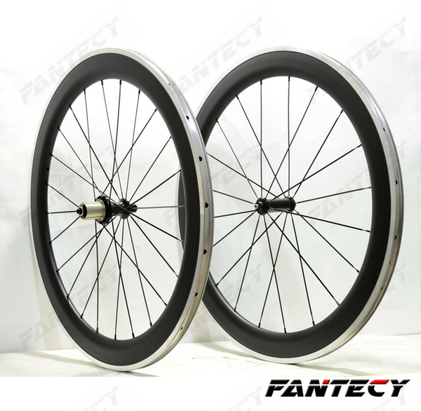 700C 60mm depth 23mm width Alloy brake surface carbon wheels road bicycle single rear carbon wheelset 3K matte finish