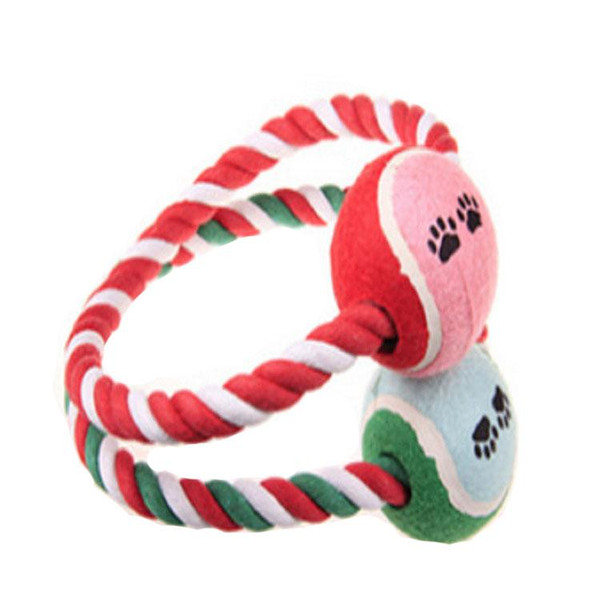 top popular Pet Dog Toys Cotton Braided Rope Knotted Rope Dog Toys Tennis Ball Chew Bite Cat Pet Toy Playing Rope Ring Interactive Toy Ball Promotion 2021
