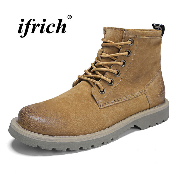 2018 New Trend Martin Boots For Men Brown Khaki Work Boots Hard-Wearing Casual Male Rubber Sole Mens Fashion Footwear