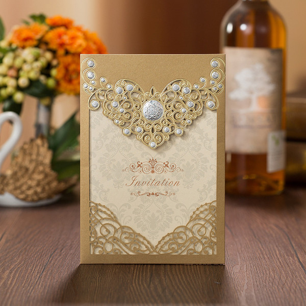 top popular New Gold Laser Cut Hollow Apophysis Invitations Cards For Business Engagement Birthday Sweet 15 Quinceanera Invite Wedding Invitations 2021