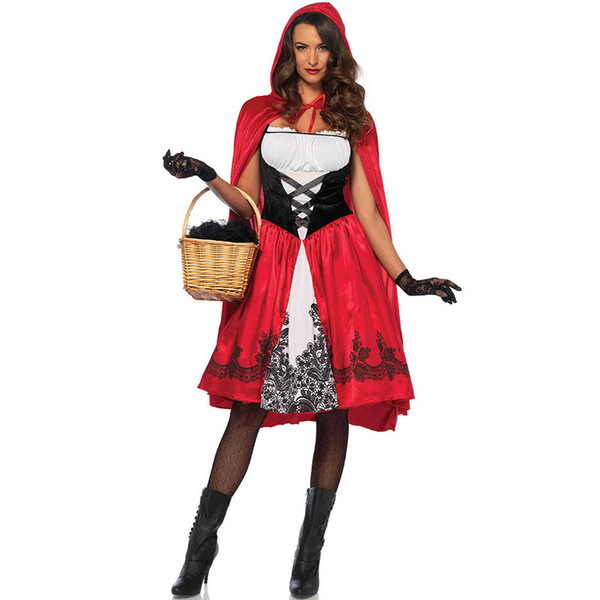 S-XXL Big Size Halloween Cloak Little Red Riding Hood Costume Cosplay Role Playing Game Uniform Dress and Manteau Set Clothing for Female