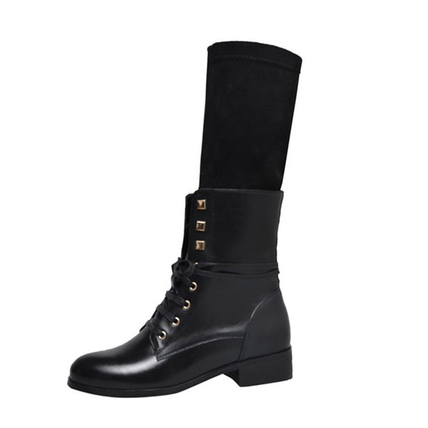 New black genuine leather martin boots woman 3 cm low heel round toe mid calf stretch boots cross tied women motorcycle boots