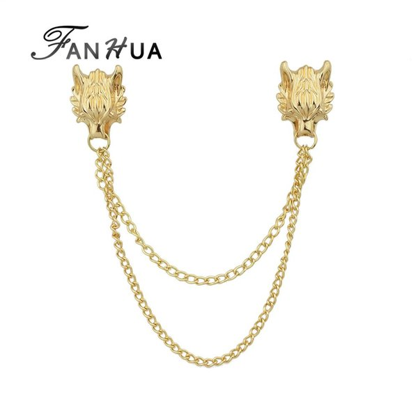 FANHUA Boho Jewelry Gold-Color Silver Color Brooches With Long Chain Double Dragon Head Shape Punk Brooches Women Accessories