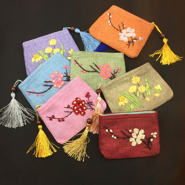 Hand Ribbon Embroidery Small Christmas Burlap Bags Gift Card Pouch Zipper Coin Purse Party Favors Bunk Fabric Tassel Chinese Bag 50pcs/lot