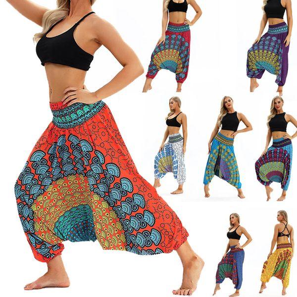 One Size Women Yoga pants Blend Bohemia Multicolor Geometric Print Long Yoga Pants Baggy Boho Aladdin Jumpsuit Harem