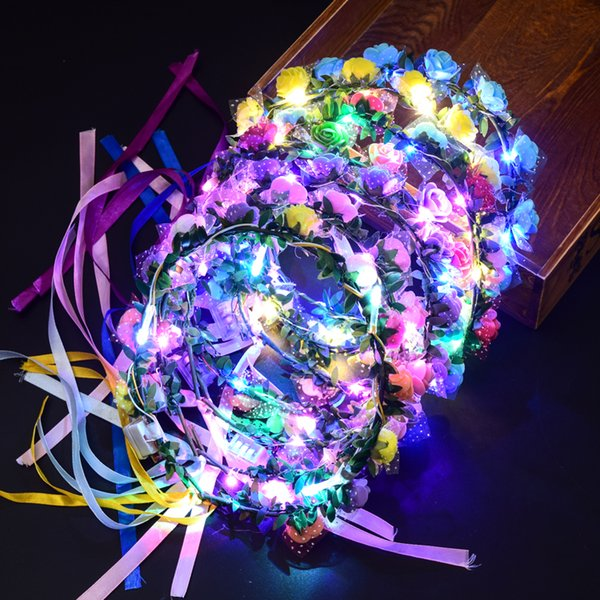 Colorido LED luz que brilla intensamente flor diadema intermitente Garland guirnalda mujeres niñas Headwear Halloween Glow Party Supplie