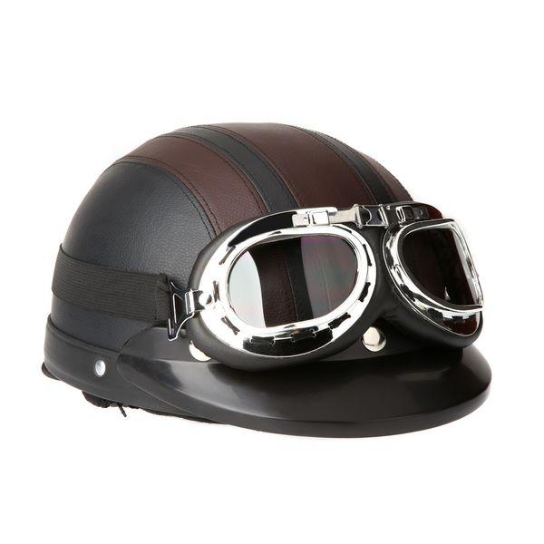 Motocicleta Scooter Capacete De Couro com Viseira UV Óculos Retro vintage moto capacete motocross off road capacitores Chopper