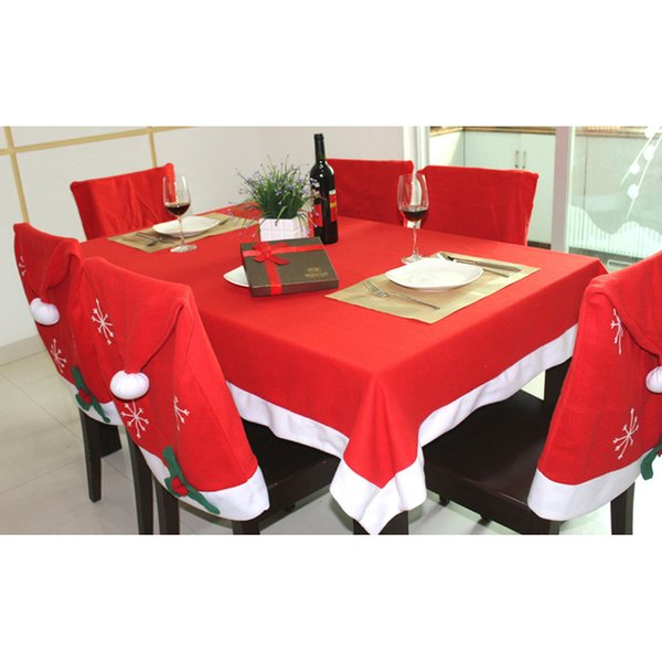 1 2 4 5 6pcs Christmas Decorations for Home Navidad Decor Santa Clause Hat Chair Covers Tablecloth Dinner New Year Supplies