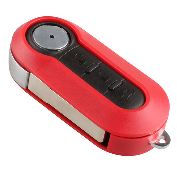 3 Button NEW Replacement Shell Folding Flip Key Case for Car Fiat 500 With Red Silicone Cover Combo Shell