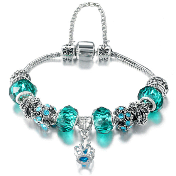 17 KM Vintage Beads Charm Bracelet For Women Crystal Glass Crown Cross Heart Bangles Silver Color Fashion DIY Jewelry Party Gift