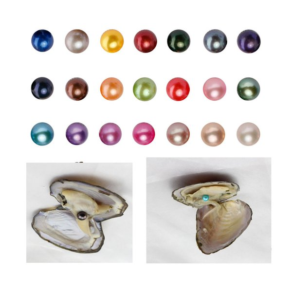 top popular 3 pearls in side ROUND Freshwater Triplet Pearls In Oysters 27 Colors Oyster Pearls With Vacuum-PackingJewelry Christmas Gift Surprise 2019