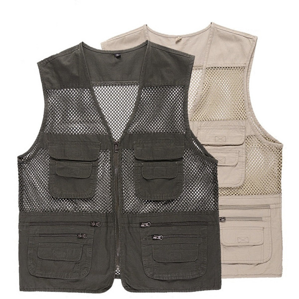 men Fishing Vest Photography Jacket Multi Pocket Zipper Loose Mesh Cloth chaleco depesca Outdoor Breathable Quick Dry Waistcoat